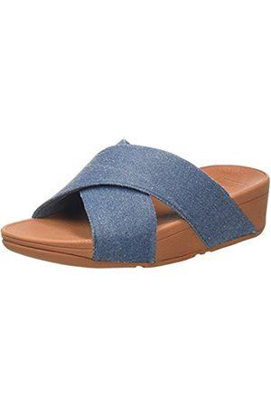FitFlop Women's Lulu Cross Slide Shimmer-Denim Open Toe Sandals