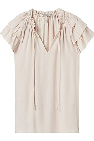 Scotch&Soda Maison Women's Soft V-Neck Top With Ruffle Sleeves Blouse