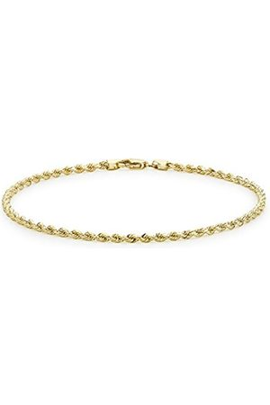 """Carissima Gold 9ct Semi Hollow Diamond Cut Rope Anklet of 25cm/10"""""""