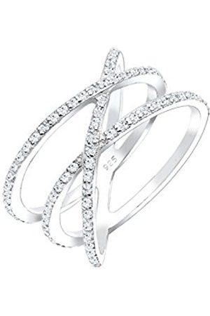 Elli Women's 925 Sterling Silver Xilion Cut Zirconia Crossed Ring