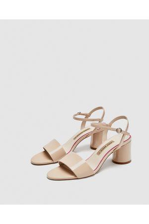 Sandals Heel 8ovn0wnym Block Tan Zara ZuXiPk