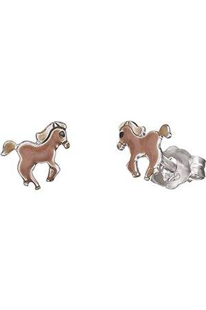 HERZENGEL Strength Ear Studs for Girls with Little Horse 925-Sterling Silver Rhodium Plated Size 7 mm
