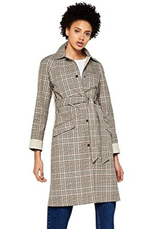 FIND Women's Check Trench Coat with Solid Back