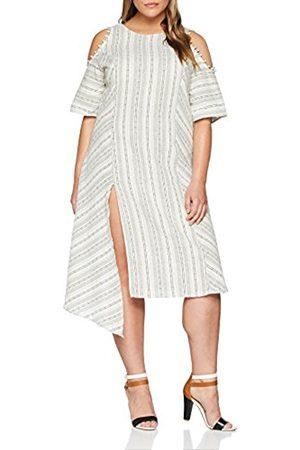 Elvi Women's The Masago Cutout Shoulder Linen-Mix Stripe Asym Hem Dress