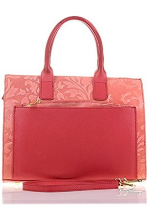 Firenze Artegiani . Bag Tote Women's Genuine Leather Bag Women Leather Genuine Engraved Arabesque and lacquered. Details in Saffiano. Made in Italy. Vera Pelle Italian. 33 x 26 x 12 cm. Colour: Salmon