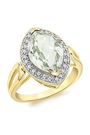 Carissima Gold 9 ct Gold 0.15 ct Diamond Marquise Green Amethyst Ring - Size - O
