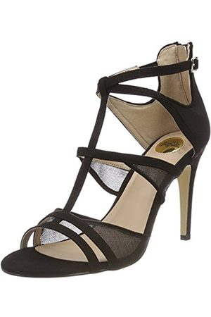 Womens 15s90-6 IMI Suede Ankle Strap Sandals, Black Buffalo