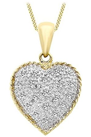 """Carissima Gold 9ct Gold 0.10ct White Diamond Heart Shaped Pendant on Curb Chain Necklace of 46cm/18"""""""