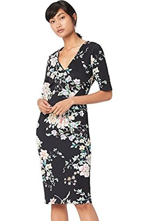 TRUTH & FABLE Women's Dress Bodycon Floral, Multicoloured (Multicoloured Floral Print)
