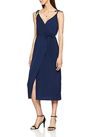 warehouse Women's Tie Strap Wrap Dress, (Navy)