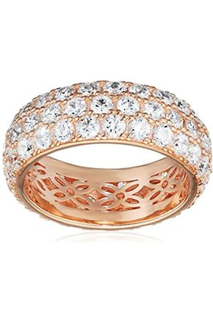 La Lumiere Rose Gold-Plated Sterling Silver Swarovski Zirconia Fancy Pink Three-Row Pave Round Cut Ring