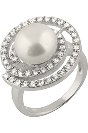 Bella Pearls Freshwater Pearl and Cubic Zirconia Spiral Sterling Silver Ring - Size N