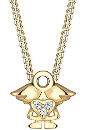 Elli Children genuine jewellery Necklace silver Necklace with Pendant Kids Girl Heart Cut Out Basic Trendy Swarovski Sterling Silver 925 Plated 36 cm Length