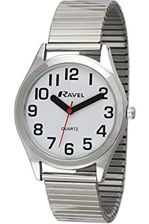 Ravel Easy Read with Bold Hands Men's Quartz Watch with Dial Analogue Display and Stainless Steel Bracelet R0225.01.1