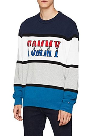 Tommy Hilfiger Men's TJM Retro Colorblock Sweater Jumper, ( Sapphire/Multi 901)
