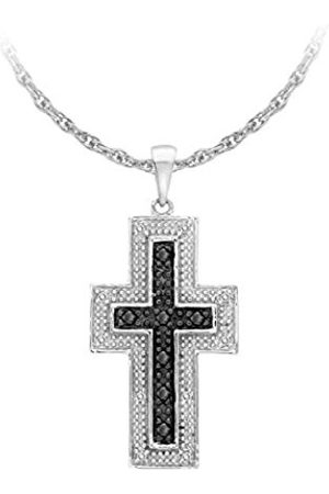 Carissima Gold 9 ct White Gold 0.15 ct Black and White Diamond Cross Pendant on Chain Necklace of 46 cm/18 inch