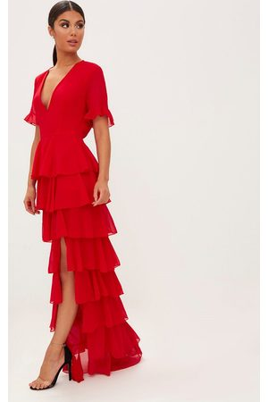 PRETTYLITTLETHING Chiffon Ruffle Layer Maxi Dress