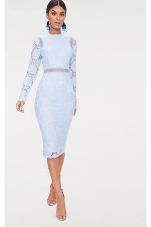 PRETTYLITTLETHING Women Bodycon Dresses - Dusty Long Sleeve Lace Bodycon Dress