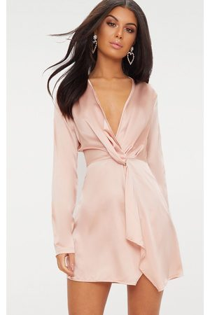 PRETTYLITTLETHING Women Party Dresses - Nude Satin Long Sleeve Wrap Dress