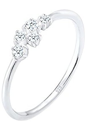 DIAMORE Women's 925 Sterling Silver Engagement Asymmetrical Love Geo Diamond 0.12 ct Ring