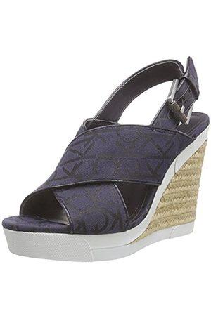 Calvin Klein Women's Elaine CK Logo Jacquard/Patent Open Toe Sandals Size: 7