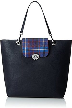 Tommy Hilfiger Womens Effortless Novelty Tote Print Canvas and Beach Tote Bag (Tommy Navy/Tartan)