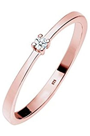 DIAMORE Women's 925 Rose Gold Plated Engagement Solitaire Love Classic Diamond 0.03 ct Ring