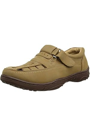 Gordini Mens Touch/Close Sandals Leather Lined Taupe Faux Nubuck Size 7