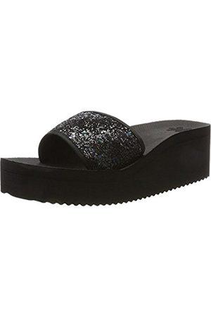 Womens Poolwedge Glitter Platform Sandals, Black, 4 UK Flip*Flop