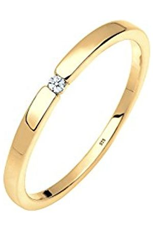DIAMORE Women's 925 Gold Plated Engagement Classic Elegant Diamond 0.02 ct Ring
