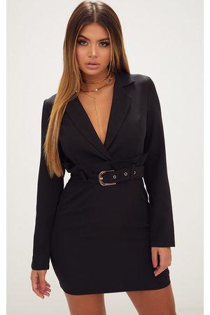 PRETTYLITTLETHING Women Blazers - Frill Waist Belted Blazer Dress