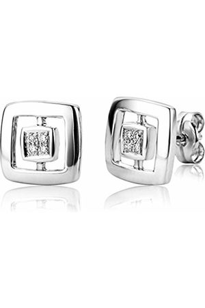 Miore Diamond Earrings, 18ct Gold, Zirconia Square Studs, 0.06 carat Diamond Weight