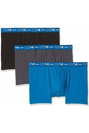 Dim Men's Coton Stretch Boxer X3 Swim Trunks, (Gris Plomb/Bleu Océanique/Noir Rouge 5vh)