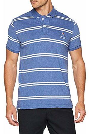 Putney Bridge Men's Core Logo Striped Polo Shirt, (Navy/ Nwh)