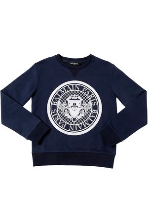 Balmain LOGO CREST FLOCKED COTTON SWEATSHIRT