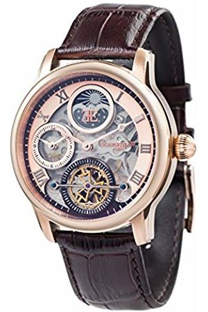 THOMAS EARNSHAW Thomas Earnhshaw Men's Longitude Shadow Automatic Watch with Rose Dial Skeleton Display and Brown Leather Strap ES-8063-02