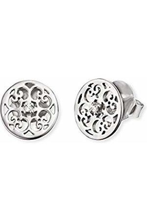 "Engelsrufer Ornament Ear Studs for Women 925-Sterling White Zirconia Size 13 mm (0.51"")"