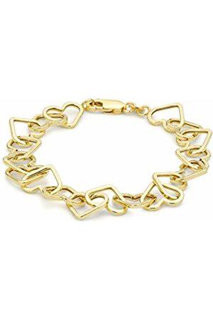 Carissima Gold Women's 9 ct Gold Heart Link Belcher Bracelet of Length 19 cm/7.5 Inch 1.22.7862