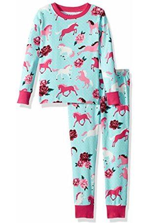 Hatley Little House by Girl's Long Sleeve Printed Pyjama Sets, (Ponies/Peonies)