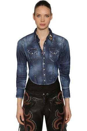 Dsquared2 STRETCH DENIM CROPPED SHIRT