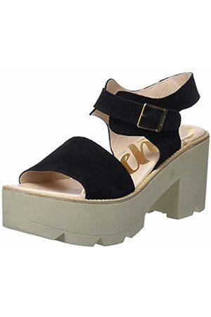 CUPLÉ Women's Sandalia Hebillas Serraje Negro Ankle Strap Sandals