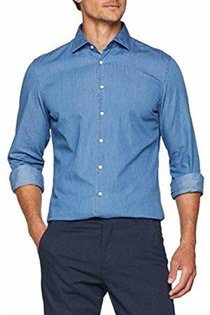 Seidensticker Men's Slim Langarm Mit Kent Soft Uni Optik Smart Business-Weicher Kragen Denim Shirt