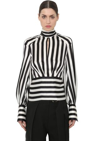 PETAR PETROV STRIPED SILK SATIN BLOUSE