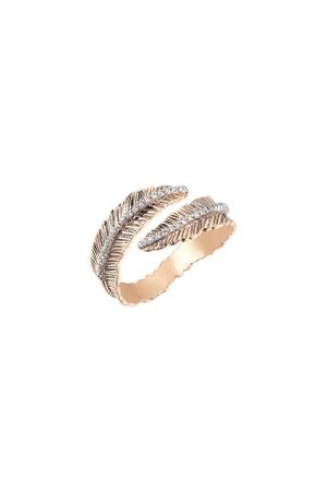 Milka Women Rings - 14ct Rose Gold Diamond Double Row Feather Pinky Ring