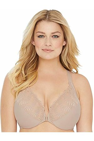 Glamorise Women Bras & Bustiers - Women's Figure Front Close Lace T-Back Wonderwire 1246 Full Coverage Bra