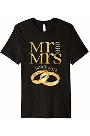 Blink 4th Wedding Anniversary T-Shirt Mr & Mrs Since 2014 Gift Tee