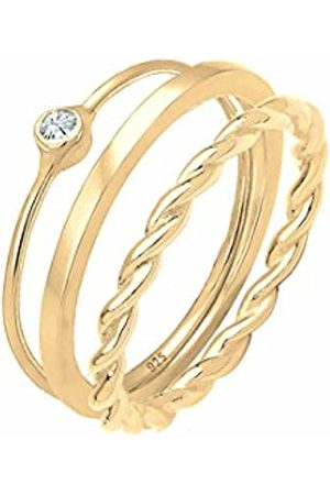 Elli Women Silver Stacked Ring - 0604262418_56