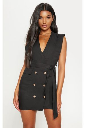 PRETTYLITTLETHING Sleeveless Gold Button Detail Blazer Dress
