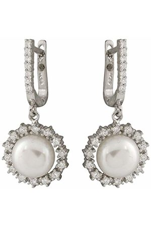 Bella Pearls Freshwater Pearl and Cubic Zirconia Drop Sterling Silver Earrings