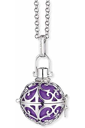 Engelsrufer Women's 925 Sterling Rhodium Plated Classic L Purple Chime with Belcher Chain Necklace of Length 90 cm